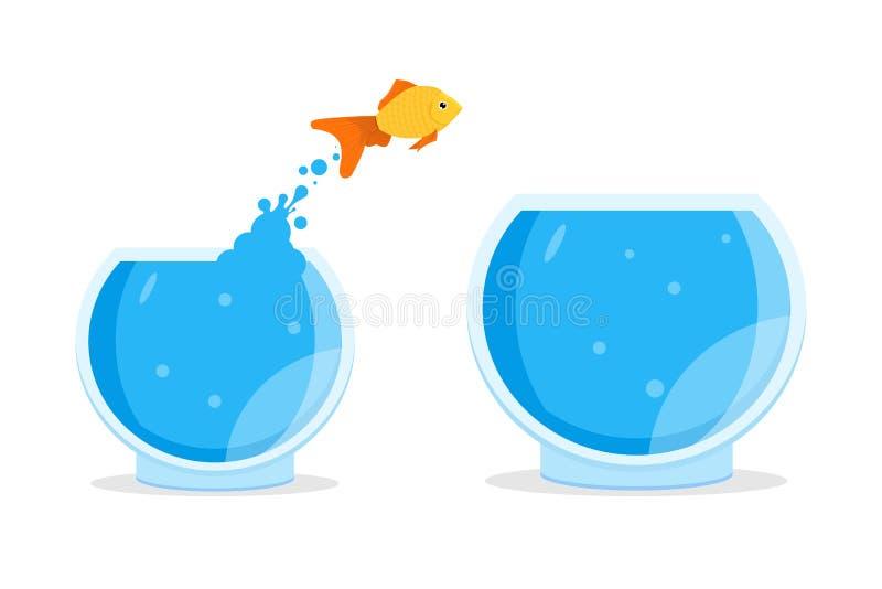 Goldfish jumping out of bowl, aquarium. Vector illustration royalty free illustration