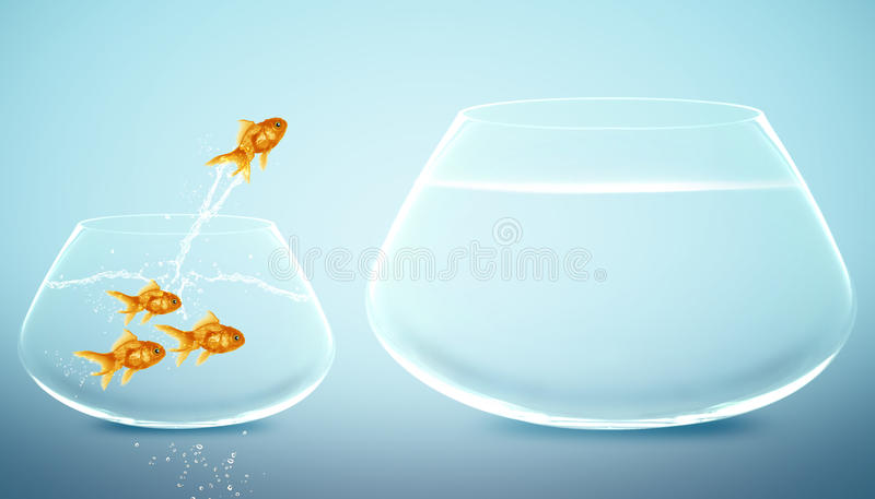 Goldfish jumping to Big bowl. Good Concept for new life, Big Opprtunity, Ambition and challenge concept vector illustration