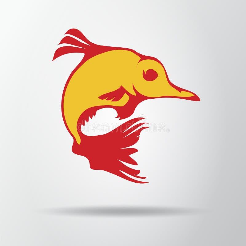 Goldfish logo odizolowywający na szarym tle z cieniem Fantastyczna rybia ikona, symbol, znak Wektorowa ilustracja, EPS10 ilustracja wektor