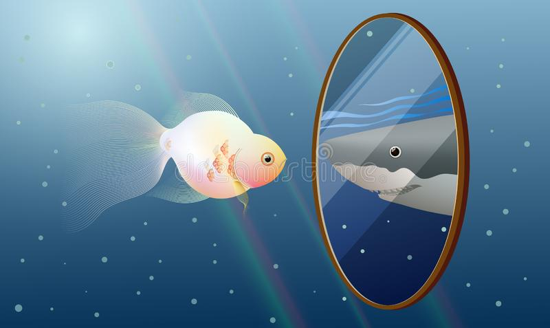 Goldfish look into the mirror and see a reflection of a Great White shark, self esteem concept idea vector illustration