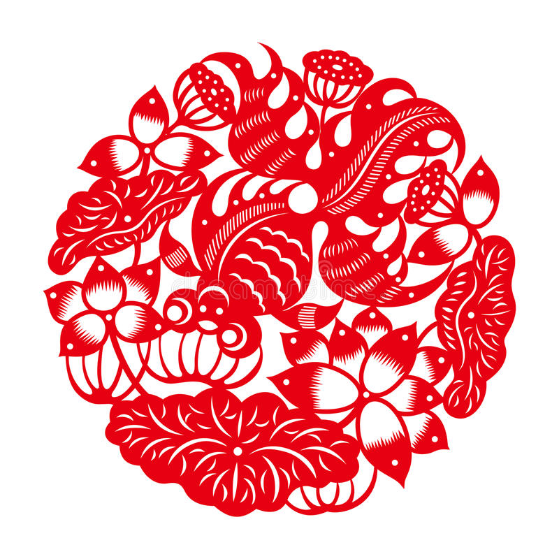 Goldfish with lotus chinese traditional paper cut art for Chinese paper cutting templates dragon