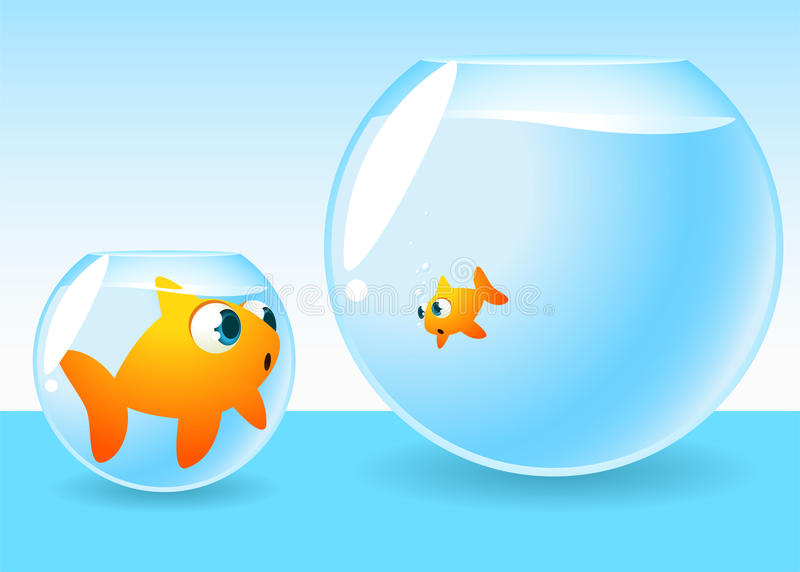 Goldfish too big for its bowl. Looking at another one living a in a bigger place stock illustration