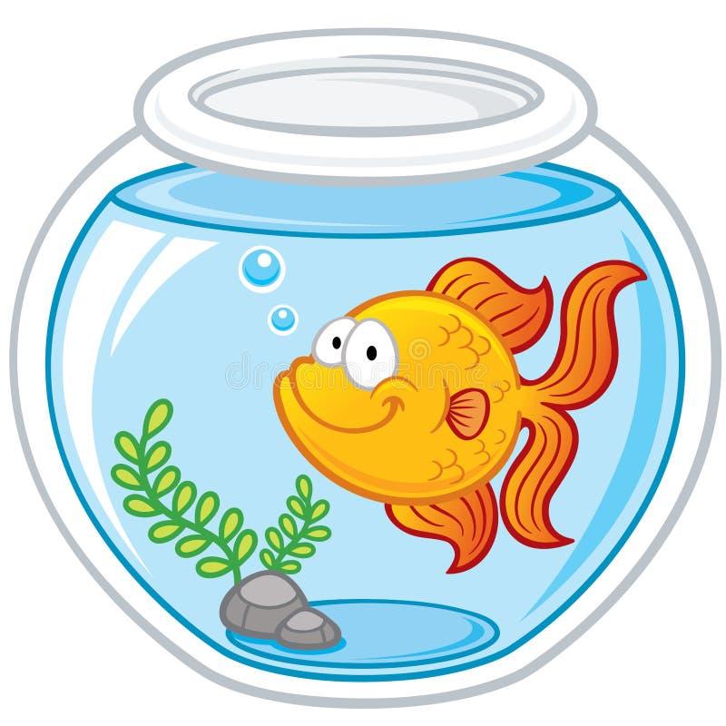 Goldfish. Vector illustration of Goldfish in a bowl stock illustration