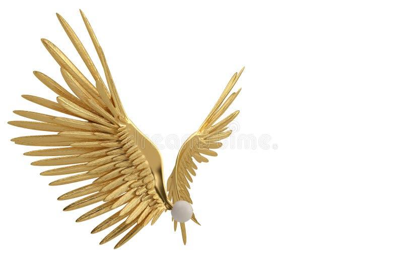 Goldflügel auf weißem Hintergrund Abbildung 3D lizenzfreie abbildung
