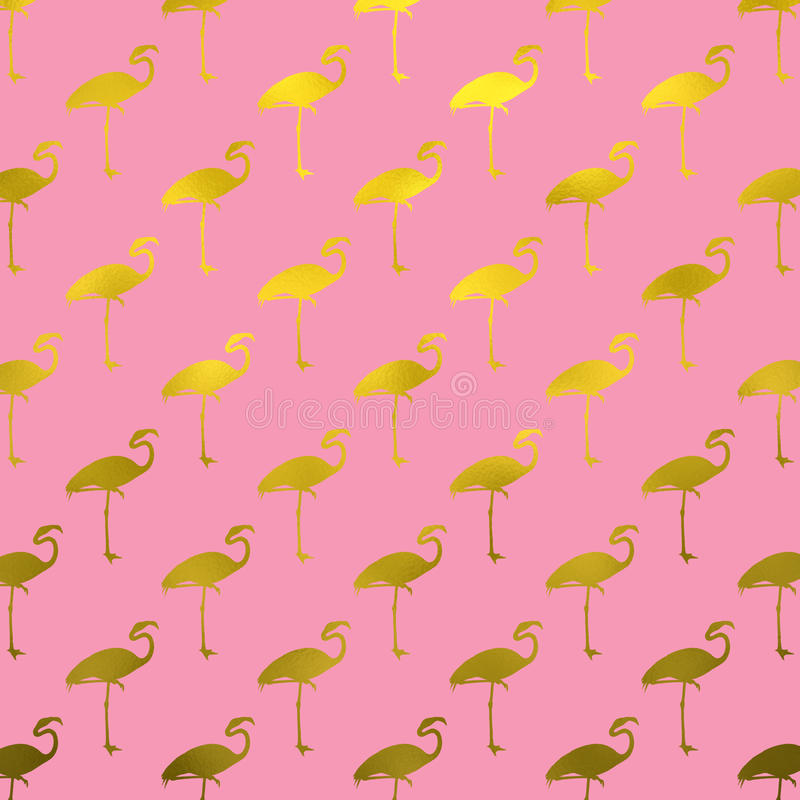 Goldflamingo-Muster-Flamingo Faux-Folie Polk Dots Pink stockbild