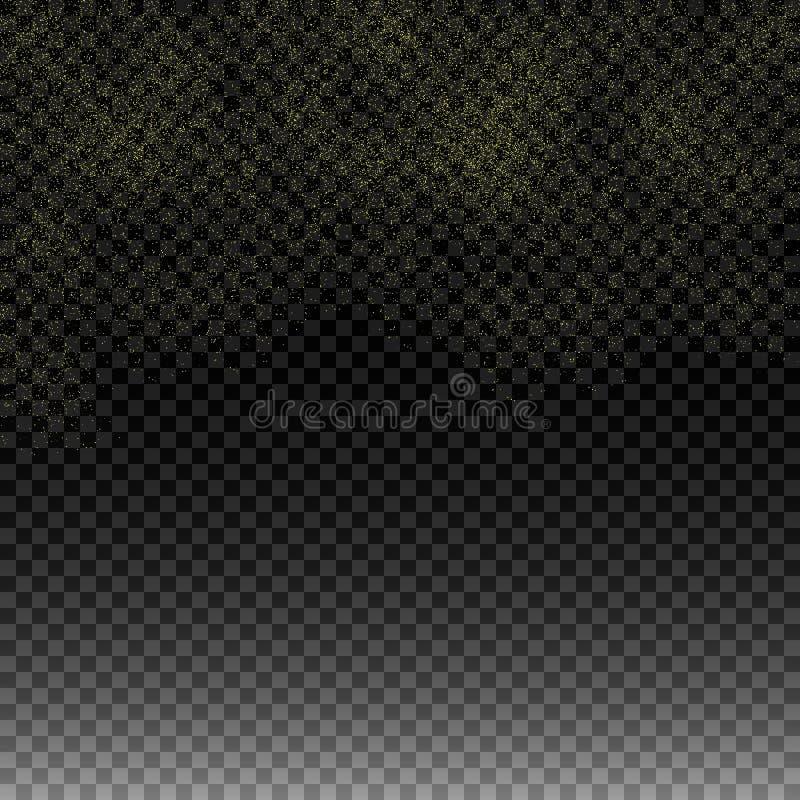 Goldfleck Regen golden Goldene Funkelnbeschaffenheit auf lokalisiertem Hintergrund Eine Explosion von Goldkonfettis Vektorbild, A stock abbildung