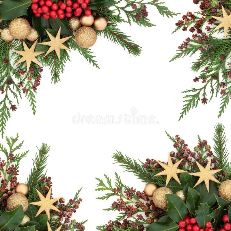 Goldflitter-Weihnachtsgrenze lizenzfreies stockfoto