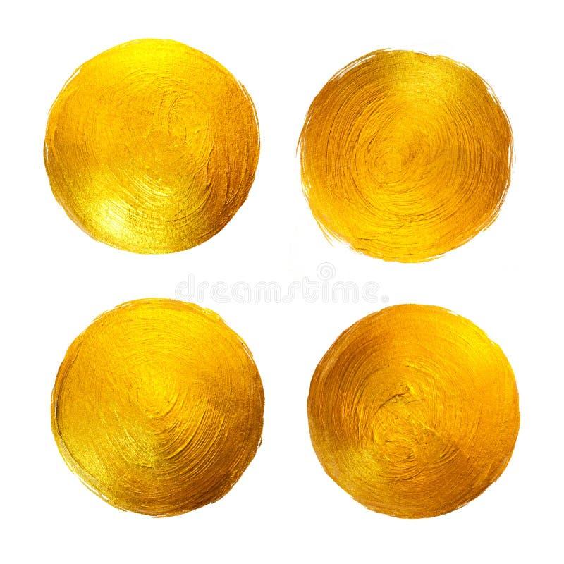 Goldfolien-Aquarell-Beschaffenheits-Farben-Fleck-Zusammenfassungs-Illustration Glänzender Kreis-Bürsten-Anschlag-Satz für Sie ers vektor abbildung