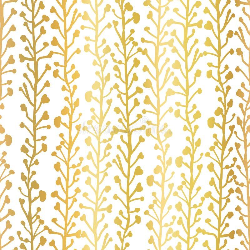 Goldfolien-Naturhintergrund Nahtloses Vektormuster von abstrakten Anlagen im metallischen Gold Niederlassungen und Blätter, die h vektor abbildung