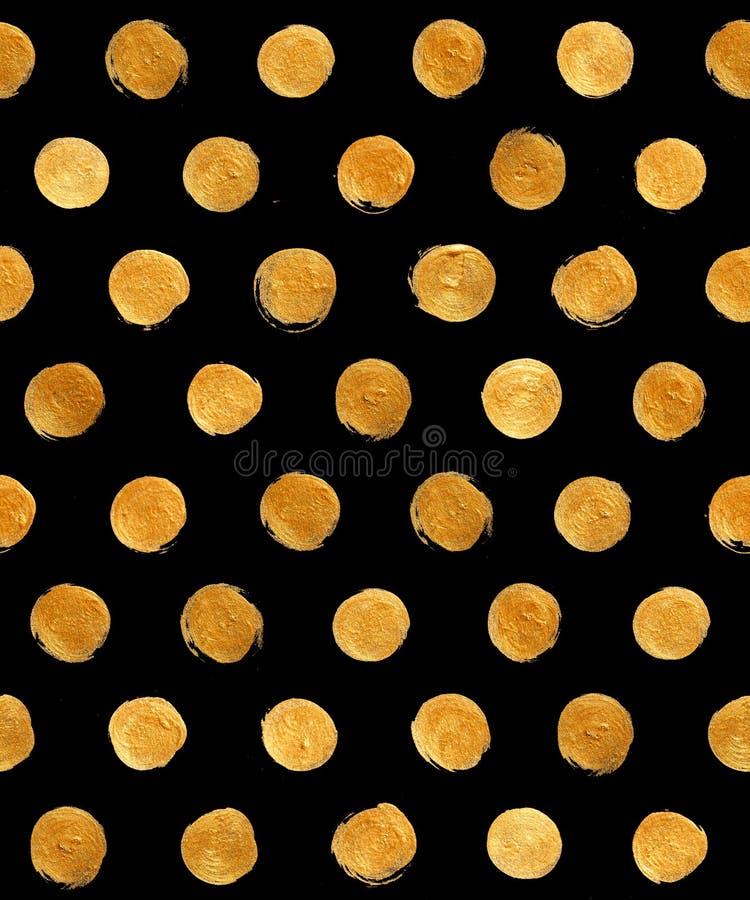 Goldfolien-Polka-Dot Seamless Pattern Paint Stain-Zusammenfassungs-Illustration Glänzende Bürsten-Anschlag-Form für Sie erstaunli lizenzfreie abbildung