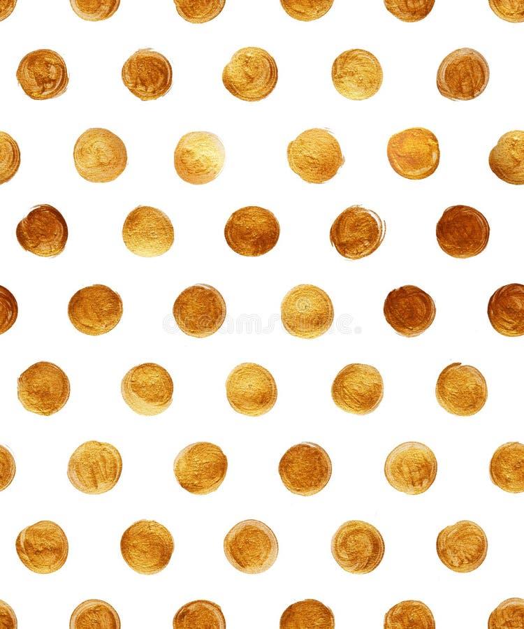 Goldfolien-Polka-Dot Seamless Pattern Paint Stain-Zusammenfassungs-Illustration Glänzende Bürsten-Anschlag-Form für Sie Projekt vektor abbildung