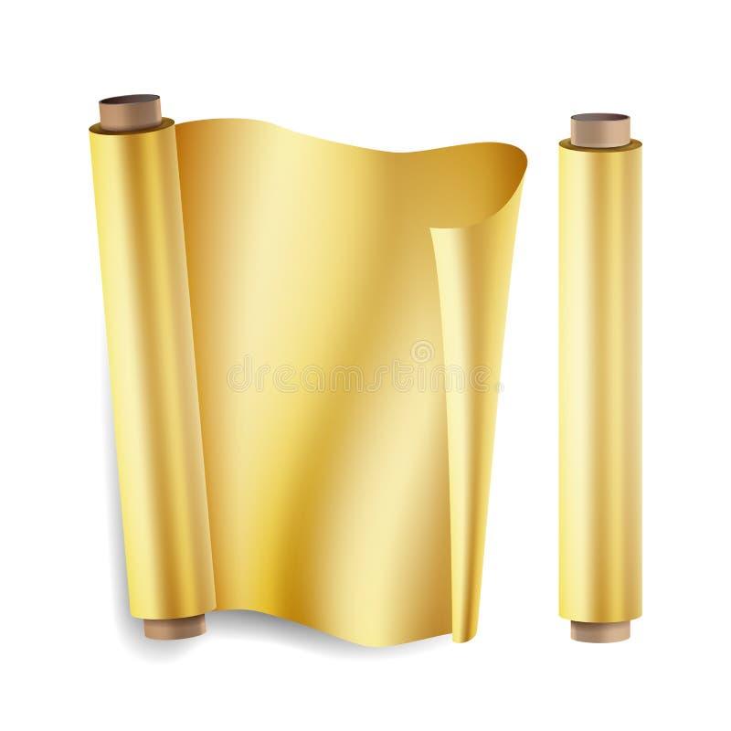 Goldfolien-Rollenvektor Schließen Sie herauf Draufsicht Geöffnet und geschlossen Weihnachtsgeschenk-Verpackung Realistische Illus vektor abbildung