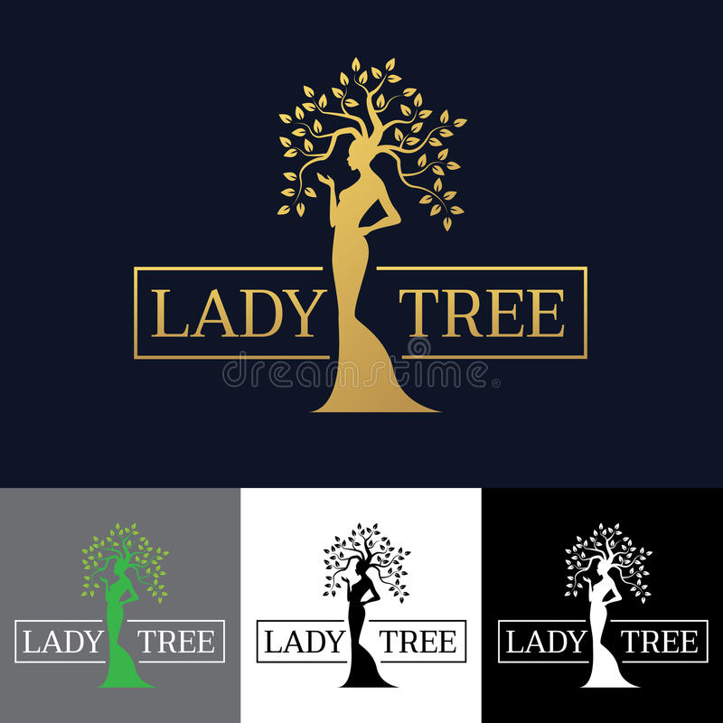 Goldfrauen-Damenbaumlogovektor-Kunstdesign lizenzfreie abbildung
