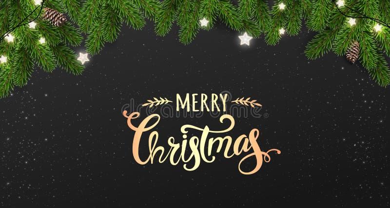 Goldfrohe Weihnachten typografisch auf schwarzem Hintergrund mit Baumasten, Geschenkboxen, Sterne, Kiefernkegel Weihnachts- und d stock abbildung