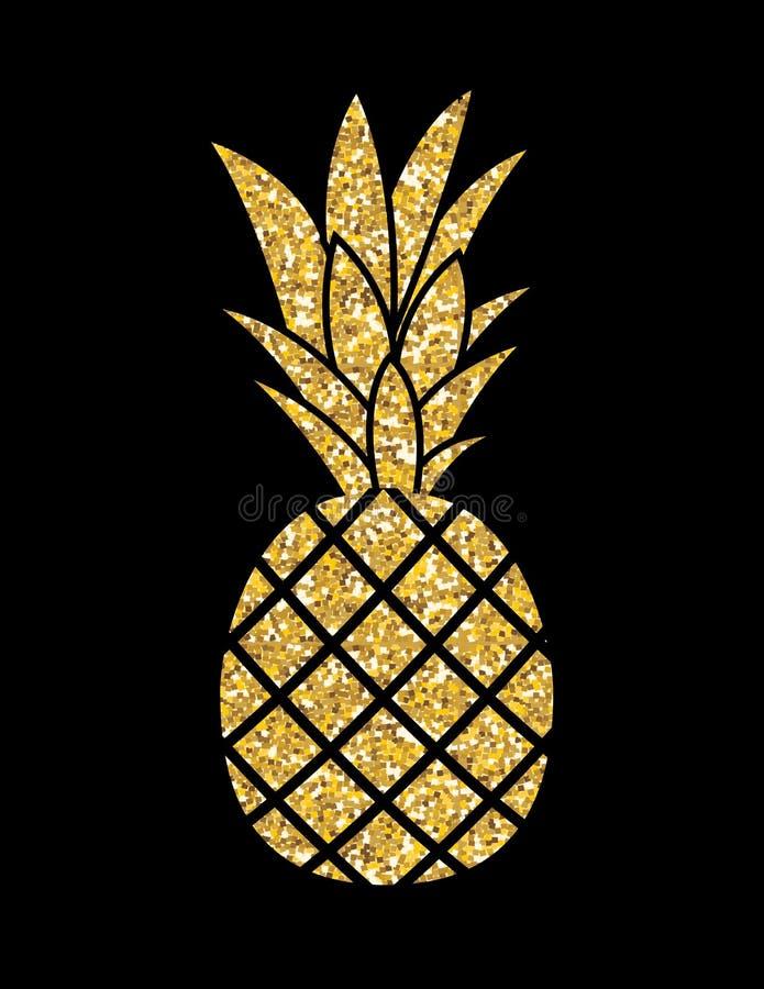 Goldfunkeln-Ananas Sommer-Konzept-Hintergrund-Vektor Illustr vektor abbildung
