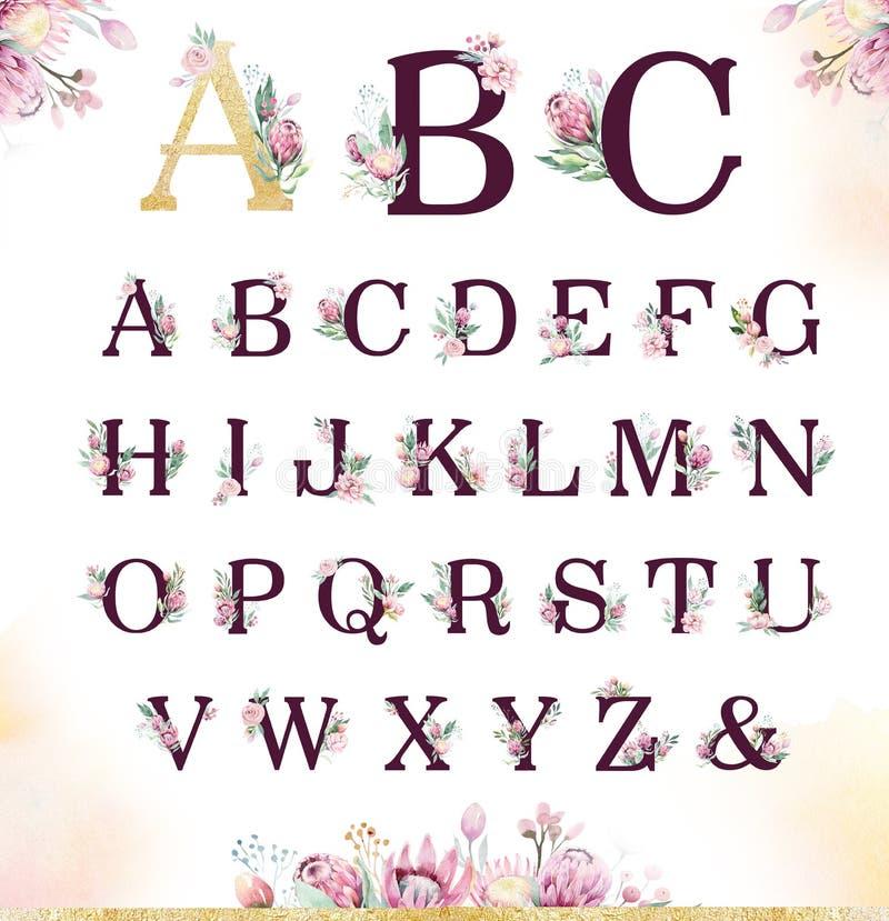 Goldfunkeln-Buchstabealphabet Lokalisierte goldene alphabetische Güsse und Zahlen auf weißem Hintergrund Blumenheiratsgusstext lizenzfreie abbildung