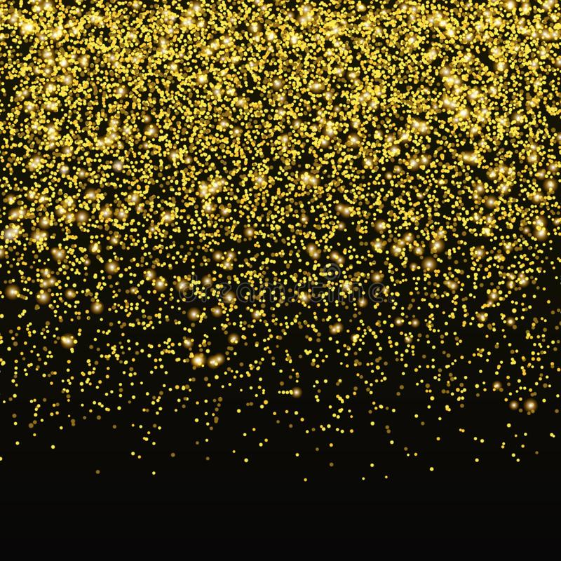 Goldfunkeln-Konfettivektor Fallender goldener Sternstaub lokalisiert auf schwarzem Hintergrund Weihnachtsglanz vektor abbildung