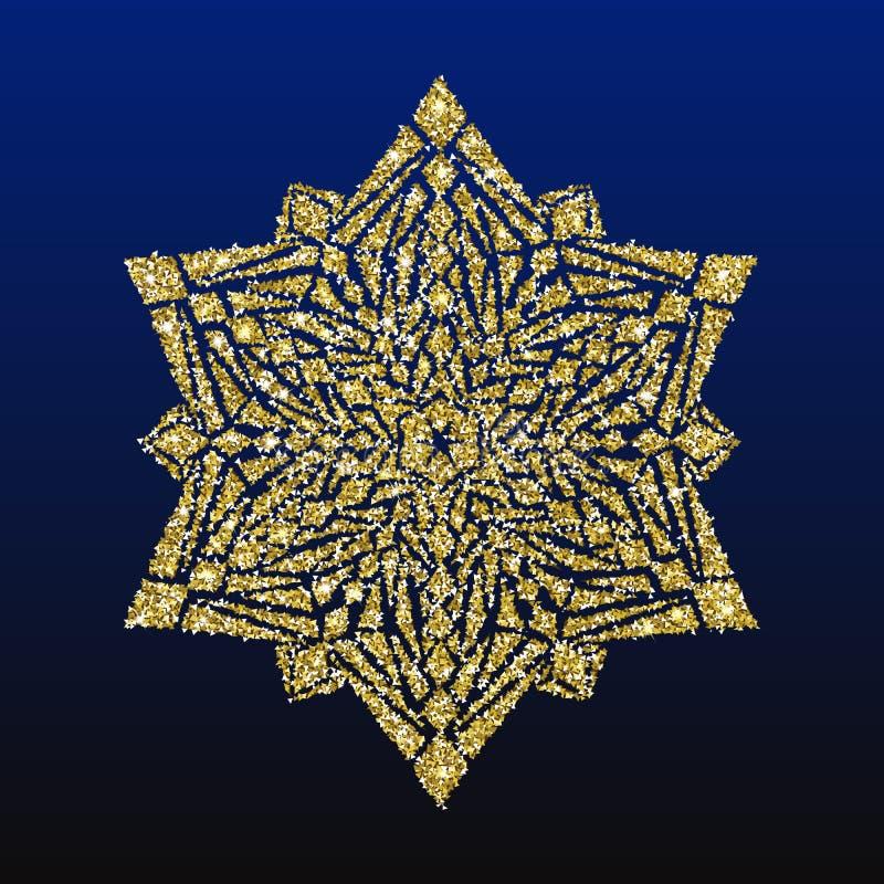 Goldfunkeln-Schneeflocken-Weihnachtskarte vektor abbildung