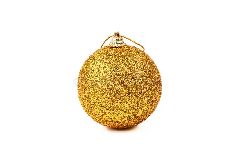 Goldfunkeln-Weihnachtsball lizenzfreie stockfotos