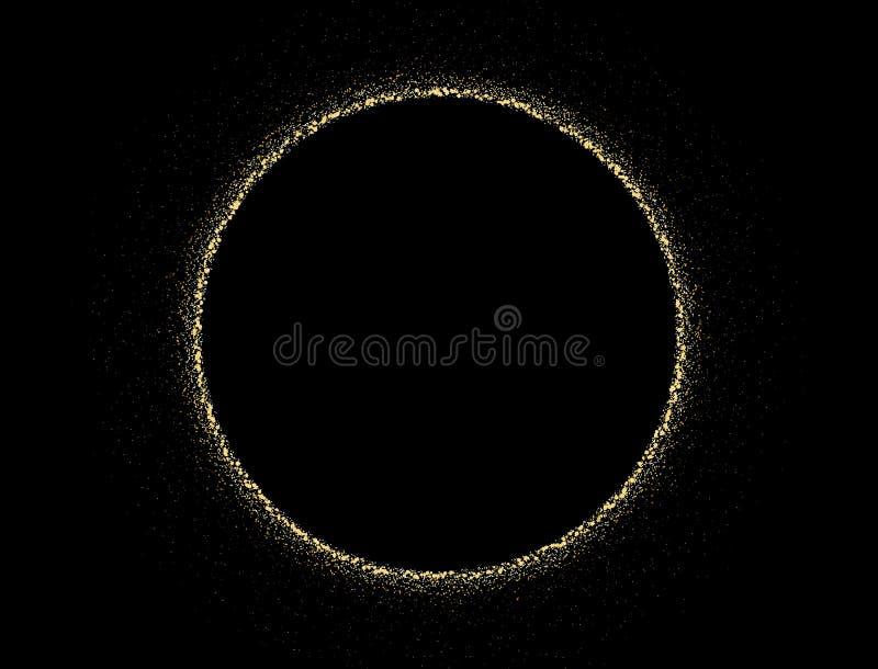 Goldfunkelnbeschaffenheit auf einem schwarzen Hintergrund Großer Kreis von der goldenen abstrakten Beschaffenheit des goldenen St stock abbildung