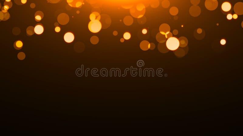 Goldfunkelnde Kreise auf Schwarzem, viele Partikel, feierlicher Hintergrund der Wiedergabe 3d, Explosion von Konfettis lizenzfreie abbildung