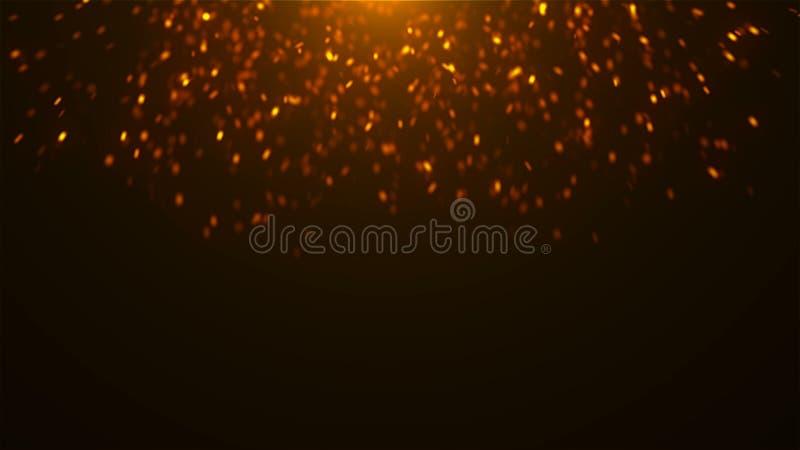 Goldfunkelnde Scheine im Raum, viele Partikel, feierlicher Hintergrund der Wiedergabe 3d vektor abbildung