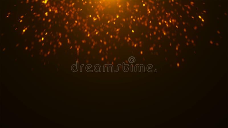 Goldfunkelnde Scheine im Raum, viele Partikel, feierlicher Hintergrund der Wiedergabe 3d lizenzfreie abbildung