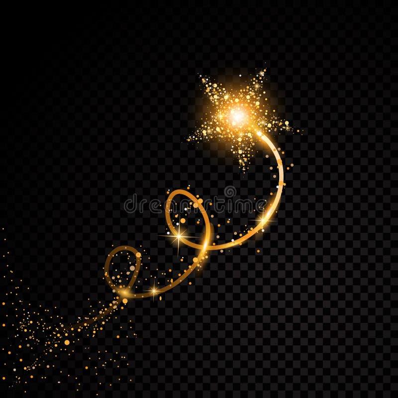 Goldfunkelndes gewundenes Sternstaubhinterfunkelnde Partikel auf transparentem Hintergrund vektor abbildung