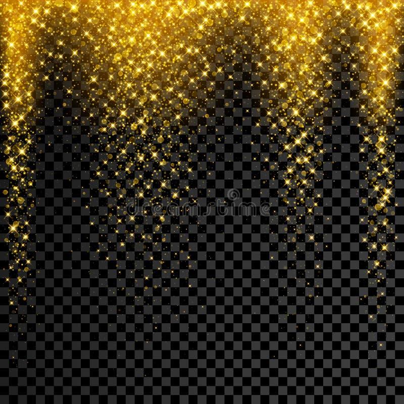 Goldfunkelnkonfettis auf transparentem Hintergrund Vektorstern-Scheinregen mit glühendem Glanz plätschern stock abbildung