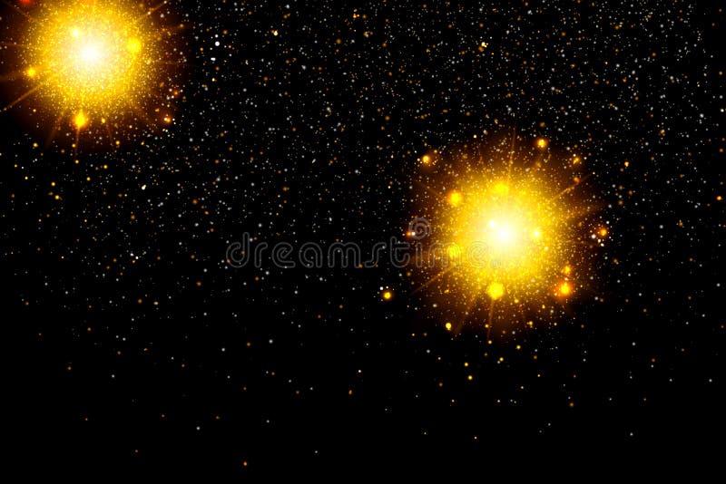 Goldfunkelnpartikel-Hintergrundeffekt Funkelnde Beschaffenheit Sternstaub funkt in der Explosion auf schwarzem Hintergrund vektor abbildung