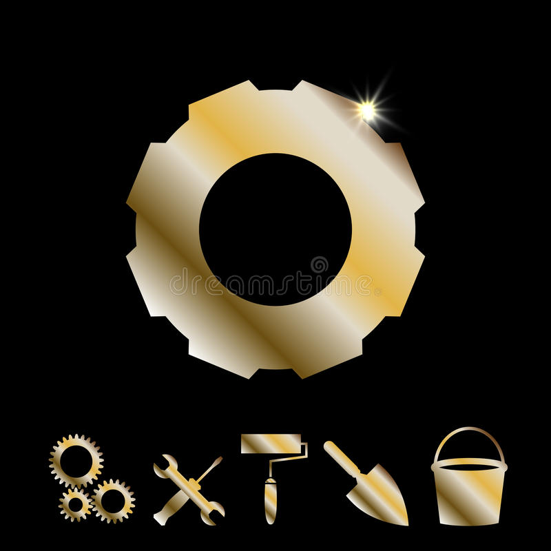 Goldgang-Vektor-Ikone stock abbildung
