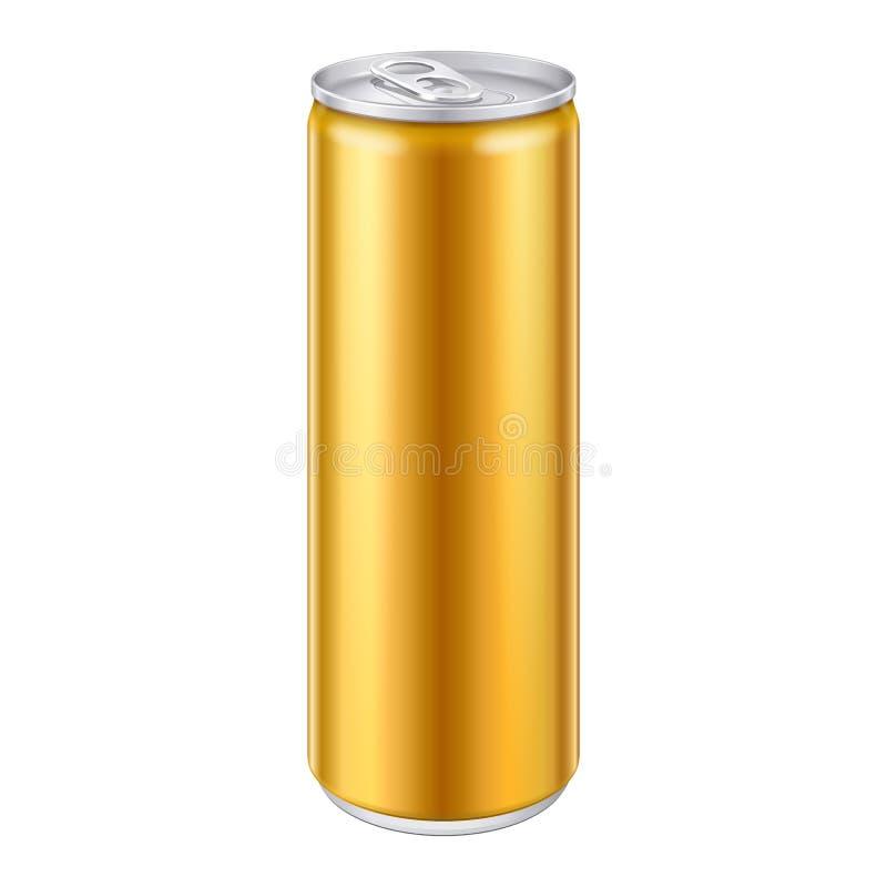 Goldgelb-orangees Bronzemetallkann aluminiumgetränkegetränk Bereiten Sie für Ihre Auslegung vor Abbildung 3d, auf weißem Hintergr vektor abbildung