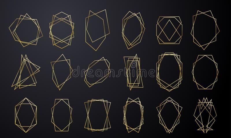 Goldgeometrische Rahmen für die Heirat Einladungskarten-Luxusgoldenes in der Diamantform Vektorgoldfolienzusammenfassung geometri lizenzfreie abbildung