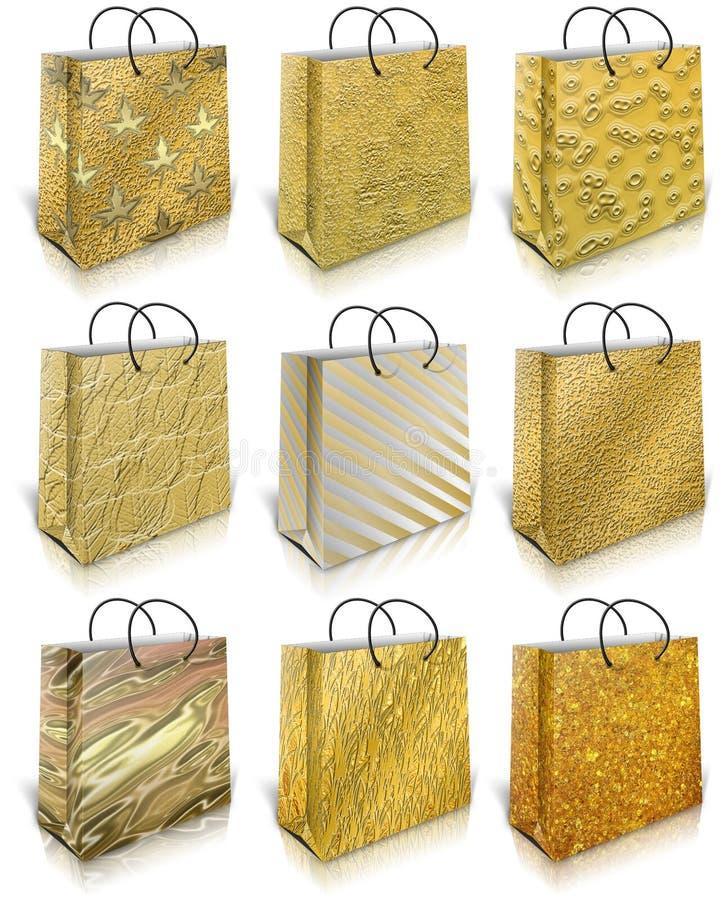 Goldgeschenkbeutel lizenzfreie abbildung