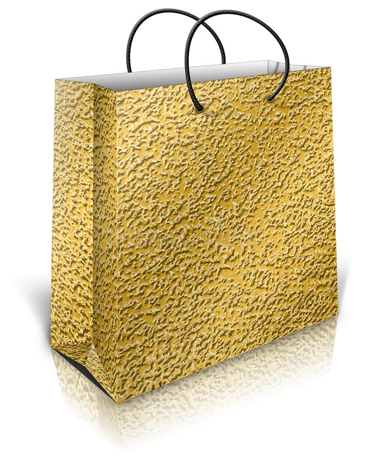 Goldgeschenktasche stock abbildung