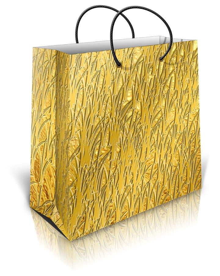 Goldgeschenktasche lizenzfreie abbildung