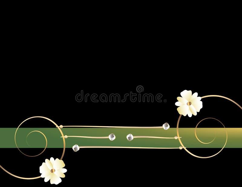 Goldgewundenes schwarzes grünes Bild 2 lizenzfreie abbildung