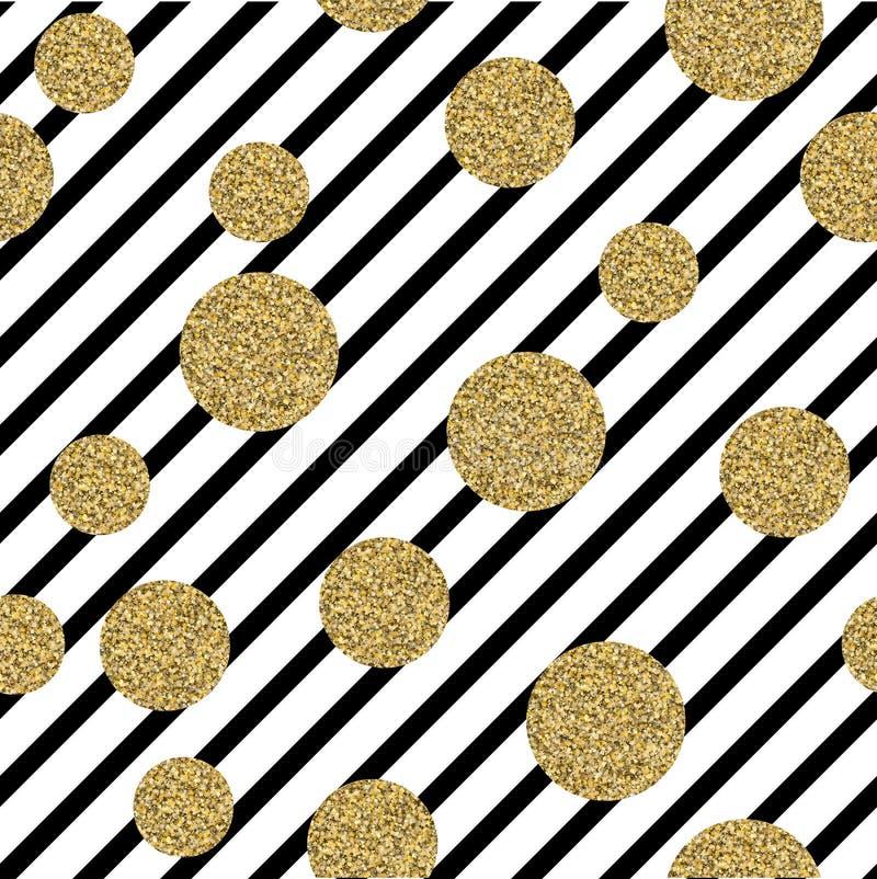 Goldglänzende Konfetti-Kreise, geometrisches nahtloses Muster lizenzfreie stockfotografie