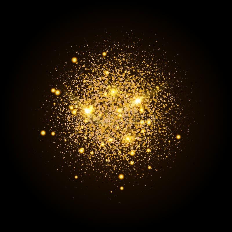 Goldglänzende Partikelform Funkelnder Hintergrund Stardust-Explosion auf schwarzem Hintergrund Festliche Illustration des Vektors stock abbildung