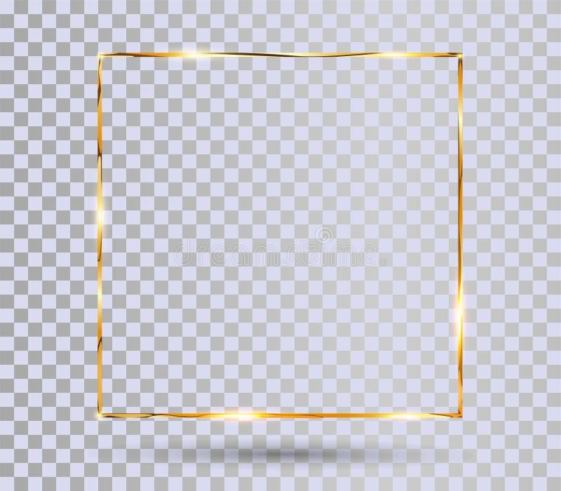 Goldgl?nzender Rahmen stock abbildung