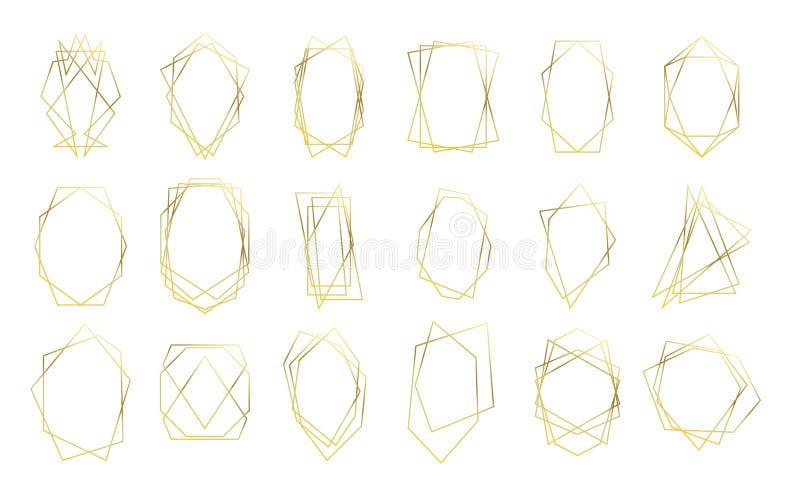 Goldgoldene Diamantformen der geometrischen Rahmenhochzeitseinladungskarte Vektorprämienluxusgoldrahmen stock abbildung