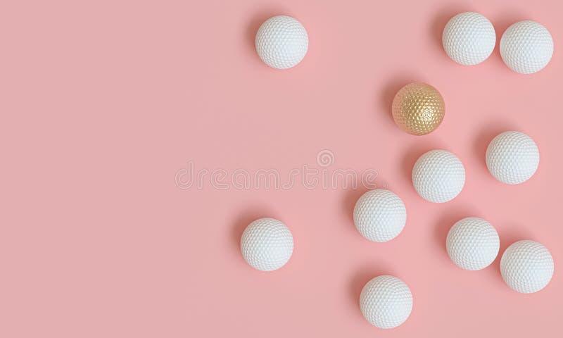 Goldgolfball unter vielen weißen, Bild 3d übertragen in der flachen gelegten Art lizenzfreie abbildung