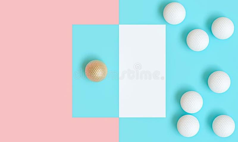 Goldgolfball unter vielen weißen, Bild 3d übertragen in der flachen gelegten Art stock abbildung