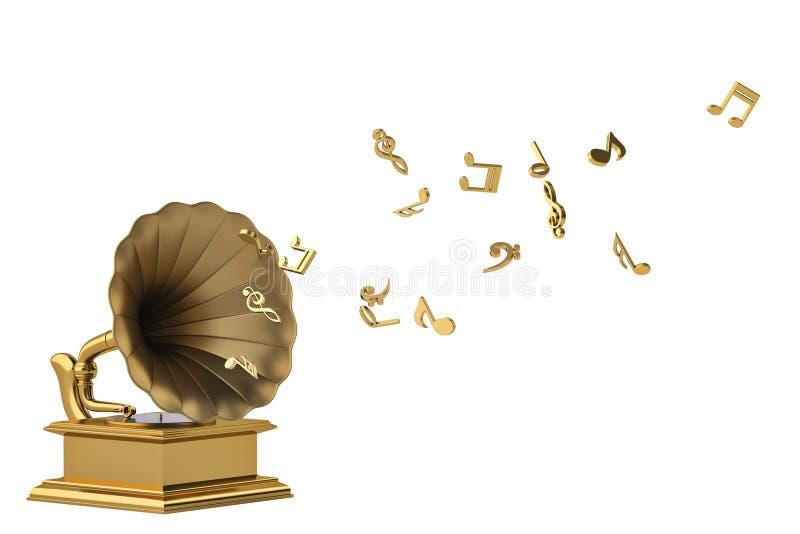 Goldgrammophon mit den Goldmusikalischen Anmerkungen lokalisiert auf weißem backgr stock abbildung