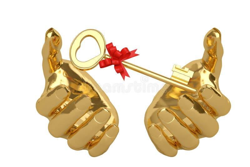 Goldhände und Schlüssel, Illustration 3D stock abbildung