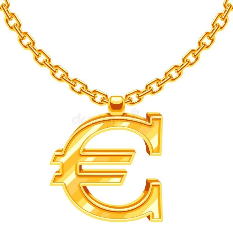 Goldhalskettenkette mit Eurosymbolvektorillustration stock abbildung