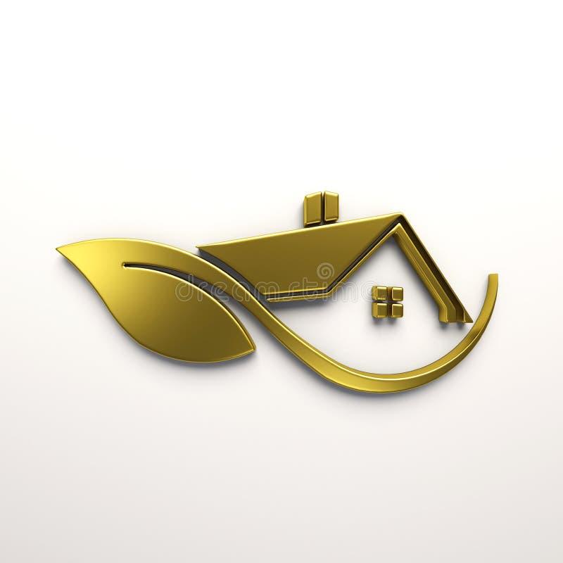 Goldhaus Logo Eco freundliches 3d übertragen Abbildung vektor abbildung