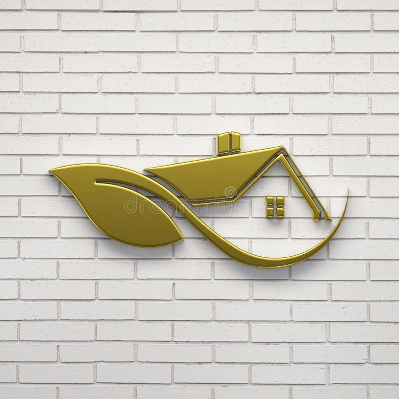 Goldhaus Logo Eco freundliches 3d übertragen Abbildung lizenzfreie abbildung
