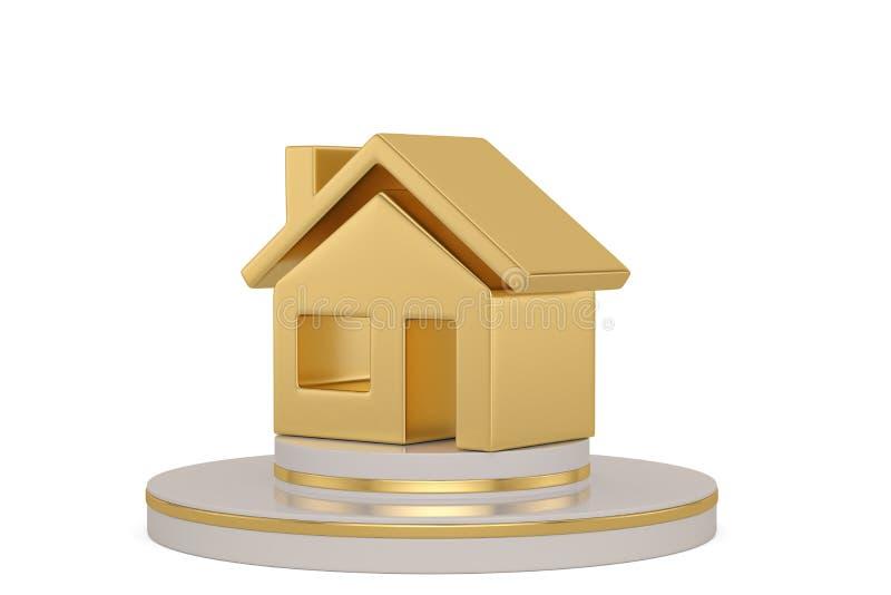 Goldhaus mit dem Stand lokalisiert auf wei?em Hintergrund Abbildung 3D lizenzfreie abbildung