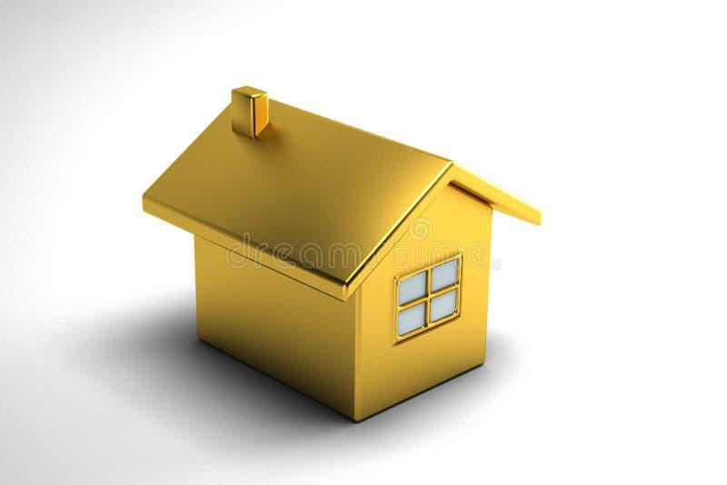 Goldhaus Real Estate Abbildung der Wiedergabe 3d stock abbildung